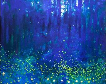 Forest Night Art Print fireflies dancing glow in cobalt blue forest
