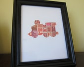 Postage Stamp Art -Train - Used Postage Stamps - Framed Postage Stamp Art - Wall Art - Train set, red