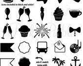 Wedding Icons Clipart Clip Art 2, Vintage Black and White Wedding Invitation Icons Clip Art Clipart Vectors - Commercial Use