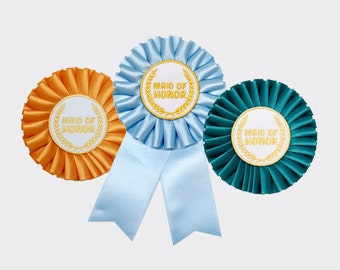 Maid of Honor Rosette Ribbon Badge (Pick Your Color) for Bachelorette Party or Bridal Shower