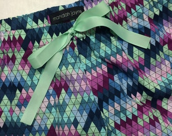 Purple/Navy/Mint Triangles - Womens Mini Sleep Shorts