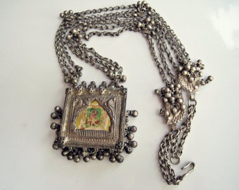Antique SilverTribal Indian Amulet Necklace from Rajasthan India