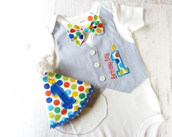 Birthday Boy First Birthday Tuxedo Bodysuit Vest and Matching Removable Bow Tie