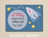 Rocket Ship Invitation - Printable SPACE Birthday Party Invitation - Spaceship Rocketship, Moon Stars - Get ready to blast off 5x7 or 4x6