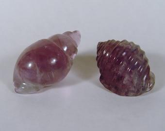 Carved Fluorite Sea Shells pair