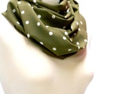 Polka Dot Scarf, Rectangular Fabric Scarf, Poly Blend Womens Scarf