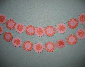 Paper Garland, pink, flowers