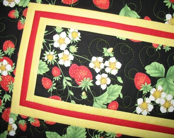 Strawberry Table Runner, Spring, Summer, quilted, fabric from Timeless Treasures