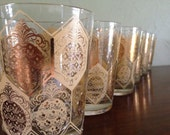 6 Piece Ned Harris Gold Pineapple Glasses