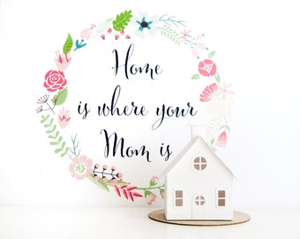 Home is Where Your Mom Is Glitter House Paper Craft Kit Putz House DIY Kit Christmas Ornament Bungalow Mothers Day Gift for Crafty Mom
