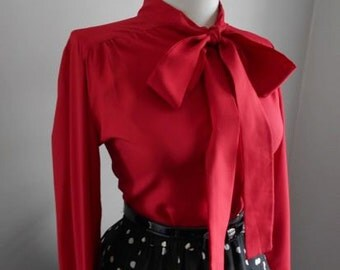 Sexy Vintage 1950s 1960s Red Button Down Blouse w Ascot Tie Neck