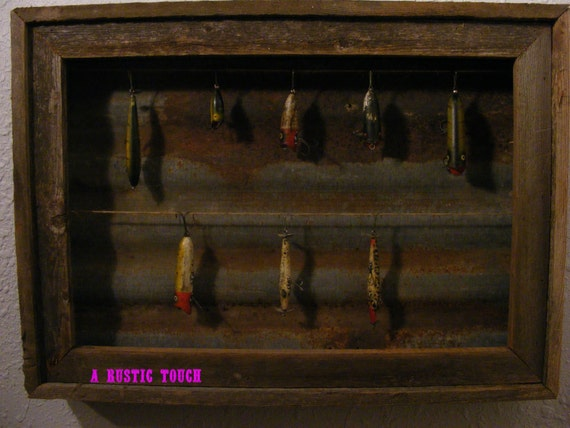 Rustic fishing lure display case by arustictouch on etsy for Fishing lure display