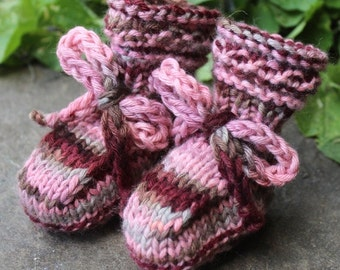 "Hand Knitted Cashmere Newborn Booties, ""Vintage Pink"""