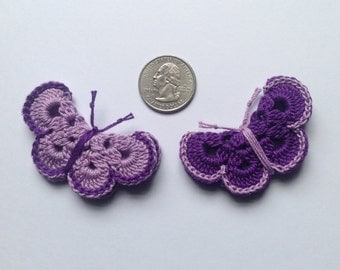 Crochet butterfly appliqué ( 2 butterflies )