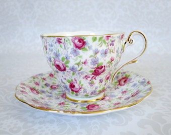 Vintage Pink Chintz Tea Cup and Saucer /  Rose Chintz Cup and Saucer  /  Teacup and Saucer by Royal Standard