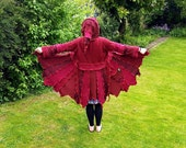 Pixie coat in red upcycled by Niknok