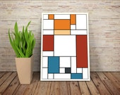 Red-headed Delivery Boy, De Stijl Minimalist Inspired Cartoon Character Print // Color Blocks, Geometry, and Thin Line Grid Design