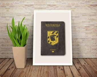 Parody Scifi and Fantasy Passports // Winterfell - Capital of the North // A Game of Thrones Passport to Adventure Series Print