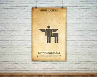 Cryptozoology  // Vintage Science Experiment Warning Poster // Finge Inspired Wall Art for the Budding Mad Scientist