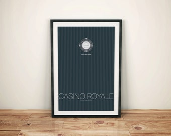 Casino Royale Inspired Alternate James Bond Movie Poster // Pinstripe Suite Pattern, Poker Chip, and Movie Quote Illustration
