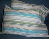 Yipes Stripes - repurposed cotton sheet, handmade travel pillow case pair fit 12x16 lumbar pillow - crazyadsteam