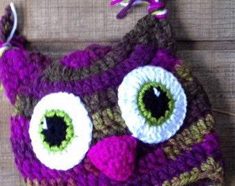Owl Hat, Crochet Owl Hat, Purple Owl Hat, Crochet Owl Beanie
