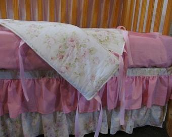 Baby Crib Bedding Set, Shabby Chic, Toddler Bedding, Girl, Crib Skirt, Crib Sheet, Bumper Pads, Rail Covers, Blanket,