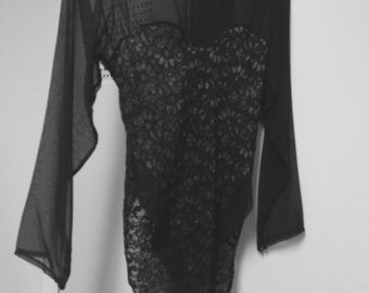 Bodysuit/sheer chiffon long slvs/lace body/medium/lotions & lace
