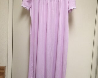 Nightgown medium/short sleeved/long/ lavender embroidered new without tags by fundamentals