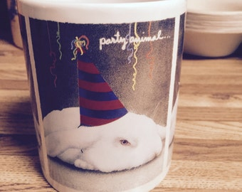 Will Bullas party animal mug: New Year's sale! bunny rabbit with party hat on/hard to find rare