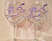 Whimsical horse hand painted wine glasses.  Set of 2
