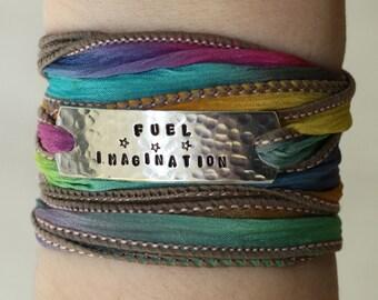 Fuel Imagination, Wrap Bracelet, Boho Chic, Yoga Bracelet, Boho Jewelry, Silk Wrap Bracelet, Boho, Boho Bracelet, Gypsy Jewelry, Boho Gypsy