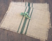 Burlap Stripe Placemats, Grain Sack Woodland Green Stripe Table Decor, Set of Two, Choice of Colors