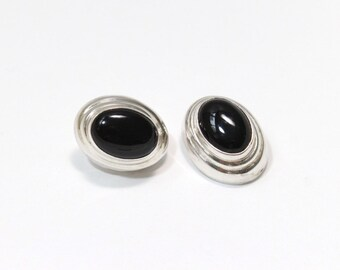 Sterling Silver Black Onyx Earrings on Posts