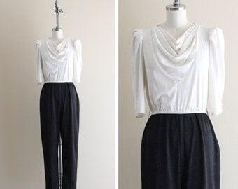 Vintage 70s Jumpsuit . Black and White Floral Print Jumpsuit