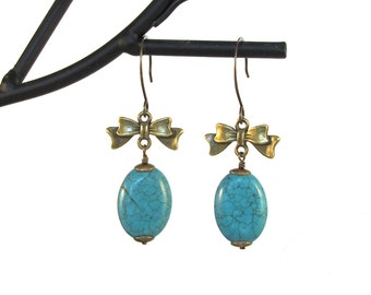 Turquoise and Antiqued Brass Dangling Earrings, ER-0053