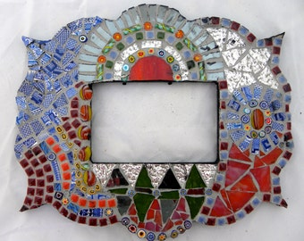 Colorful and funky shaped mirror