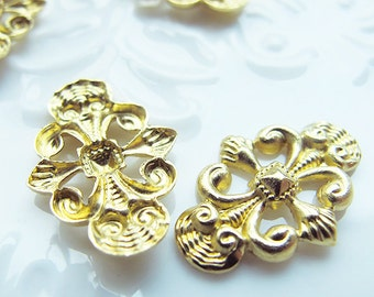 Brass flower filigree linkers, gold color, 20 pieces
