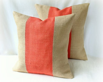 Burlap Pillow Cover SET/ Coral and Tan