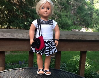 18 Inch Doll Clothes Black and White Skirt and Top Outfit with Totebag