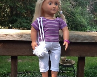18 Inch Doll Clothes Striped Shirt, Pants, Shoes for doll like American girl, girls gift, girls toy, summer outfit