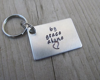 "Inspirational Keychain- Hand-Stamped Keychain- ""by grace alone"" with stamped heart - Metal Hand-Stamped Keychain by Jenn's Handmade Jewelry"
