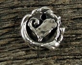 1 Chunky Organic Artisan Heart Charm in Sterling Silver Round and Rustic  AC164