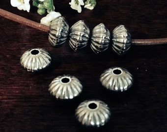Sterling Silver Spacer Beads - 3.5mm x 5.7mm Oxidized and Corrugated 10 Saucer Beads - MB50