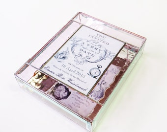 Stained Glass Keepsake Gift Box Bat Mitzvah Alice in Wonderland Pink Wedding Invitation Bride Groom Photograph Custom Order
