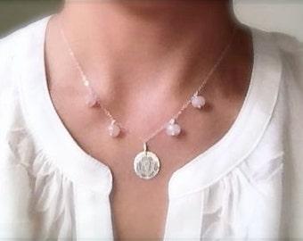 Pink Rose Sterling Silver Rose Quartz Necklace