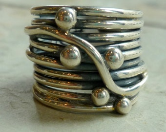 Sterling Silver Ring, Wide Silver Band, Wrapped Wire Ring, Vine Ring, Chunky Silver Ring, Wide Band, Statement Ring