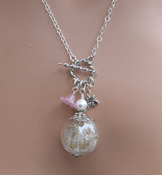 dandelion necklace real dandelion seed pearl sterling silver
