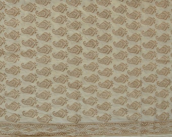 Bagh print  Indian summer cotton fabric  inhalf white colour - One yard