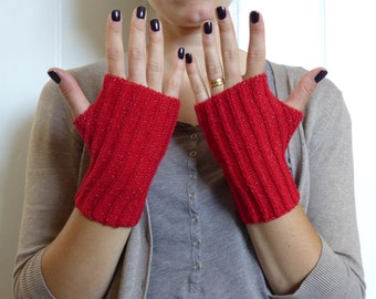 Bright Red and Gold Sparkle: Hand knit Fingerless Gloves